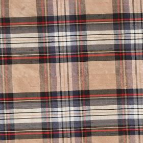 Tartan - Camel Stewart - Patchily printed fabric made from 100% silk, patterned with a checked design in blush pink, white, red, navy and bl