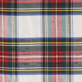 Tartan - Dress Stewart - Checked 100% silk fabric featuring a design in white, blue, black, yellow, red and dark green