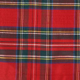 Tartan - Royal Stewart - Blue, black, yellow, white and green checks on a bright red 100% silk fabric background