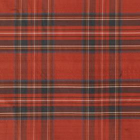 Tartan - Antique Royal Stewart - Fabric made from burnt orange coloured 100% silk fabric, behind simple checks in white, blue, black, green