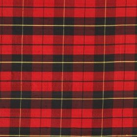 Tartan - Old Wallace - Simple checks patterning fabric made entirely from silk in light yellow, black and bright red