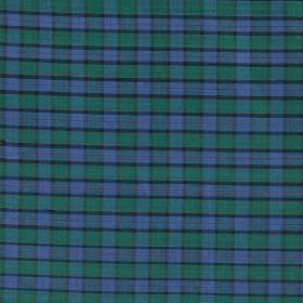 Tartan - Mini Flower of Scotland - Cobalt blue, emerald green and dark grey coloured 100% silk fabric, featuring a very simple, small checke