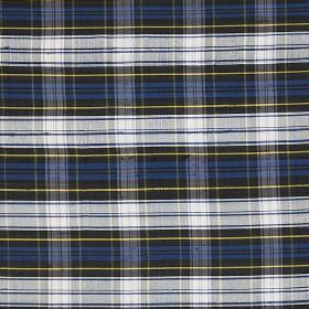 Tartan - Mini Dress Gordon - Fabric made from white, black, Royal blue and yellow coloured 100% silk, repeatedly printed with a checked desi