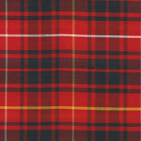 Tartan - Bruce - Red and black checked fabric featuring some white and yellow, made from 100% silk