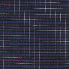 Tartan - Mini Mackenzie - Rich purple and blue shades making up a small, simple checked design on fabric made from 100% silk