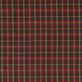 Tartan - Mini Dark Maple - Simple, regular checks printed on 100% silk fabric in dusky shades of red, green, beige and white