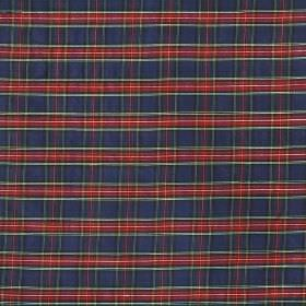 Tartan - Mini Blue Stewart - 100% silk fabric covered with a small checked design in claret, Royal blue, white and dark grey shades