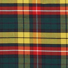 Tartan - Buchanan - Tartan style 100% silk fabric featuring a modern design in dark blue, green, grey, yellow, red and white