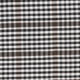 Tartan - Burns - 100% silk fabric covered with a simple but small checked design in white and very dark grey