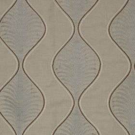 Pavanne - Natural - Subtly patterned wavy lines in two light shades of grey printed with dark grey edges on linen and cotton blend fabric