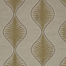 Pavanne - Fern - Light grey linen and cotton blend fabric printed with thin dark grey wavy lines and khaki coloured leaf designs