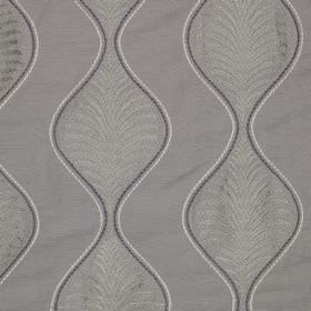 Pavanne - Slate - Subtle leaf designs and wavy lines printed on linen and cotton blend fabric in similar light shades of grey