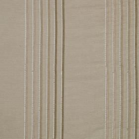 Rumba Stripe - Hummus - Various shades of beige and grey-brown making up a thin vertical stripe design on light grey viscose and silk fabric