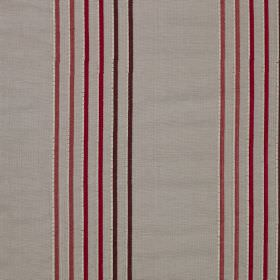Rumba Stripe - Swallow - Thin vertical stripes in dark aubergine, burgundy and dusky pink on viscose and silk blend fabric in light grey