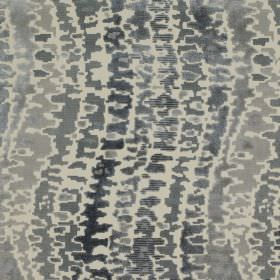 Cascade - Rock - Various different dark and light shades of grey making up a patchy wavy line design on viscose and cotton blend fabric