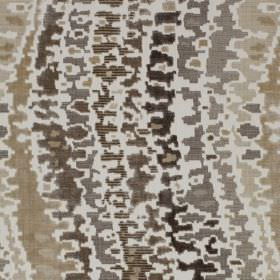 Cascade - Cobnut - Viscose and cotton blend fabric patterned with a patchily printed wavy line design in shades of dark brown and beige