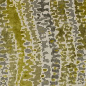 Cascade - Cocktail - Olive green and shades of grey making up a viscose and cotton blend fabric, with a patchily printed wavy line design