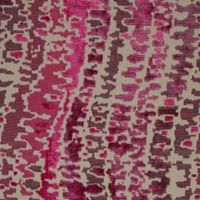 Cascade - Jester - Patchily printed wavy lines made in dark pink and fucshia shades on a stone coloured viscose & cotton fabric background