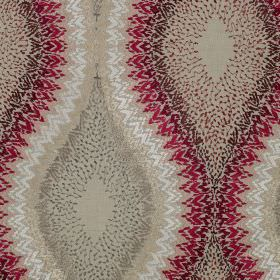 Flamenco - Carmen - Fabric made in beige, white, grey and dark shades of red, featuring a very detailed, patterned wavy line design