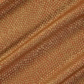 Tesserae Silk - Starfish - Copper and metallic beige coloured snakeskin style patterned fabric made from a blend of polyester and silk