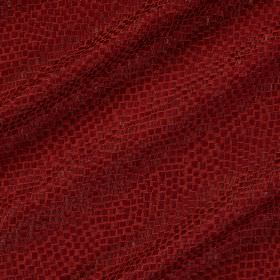 Tesserae Silk - Hollyberry - Fabric made with a snakeskin style design in two different shades of scarlet from a blend of polyester and silk