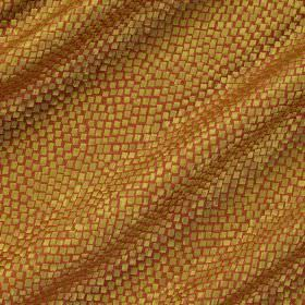 Tesserae Silk - Papaya - Snakeskin style designs in golden yellow patterning polyester and silk blend fabric in burnt orange