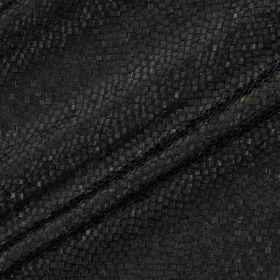 Tesserae Silk - Raven - A subtle pattern which resembles snakeskin style scales patterning black polyester and silk blend fabric