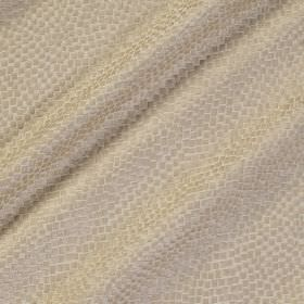 Tesserae Silk - Goose - Snakeskin style patterns in very pale beige against an off-white coloured polyester and silk blend fabric background