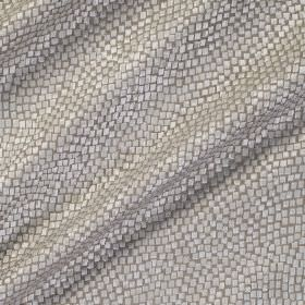 Tesserae Silk - Marcasite - Fabric made from grey polyester and silk behind a snakeskin scale style pattern in silver