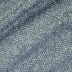 Tesserae Silk - Mazarine - Two shades of blue making up a small snakeskin style pattern on fabric made from polyester and silk