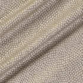Tesserae Silk - Cobra - Silver snakeskin style patterns against a background of grey-beige polyester and silk blend fabric