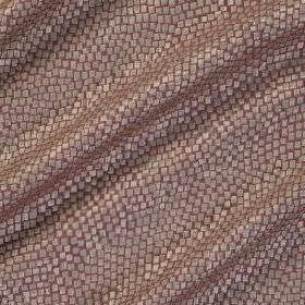 Tesserae Silk - Kir Royale - Pinkish brown coloured polyester and silk blend fabric behind a snakeskin style design in silver