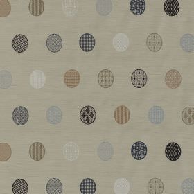 Mandalay - Basalt - Light brown, blue, grey and white patterned circles printed in rows on a beige silk and viscose blend fabric background