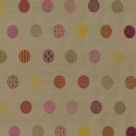Mandalay - Husk - Beige silk and viscose blend fabric behind rows of patterned circles printed in yellow, pink, purple, green and orange
