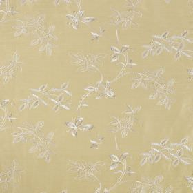 Trailing Tree Linen - Chardonnay - Linen and silk blend fabric made in cream-beige, patterned with a subtle leaf design in white