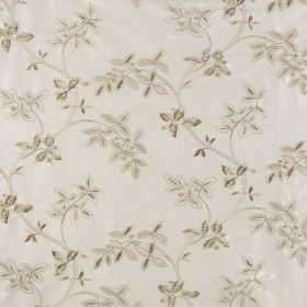 Trailing Tree Silk - Mistletoe - White 100% silk fabric behind a leaf pattern in several different light shades of grey