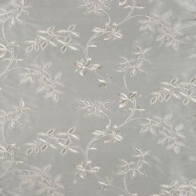 Trailing Tree Silk - French Grey - Silvery white leaves patterning pale duck egg blue coloured 100% silk fabric