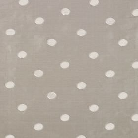 Silk Circles - Gosling - Polka dots patterning linen and silk blend fabric with a white design on an ash grey background
