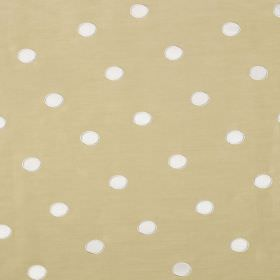 Silk Circles - Chardonnay - Fabric made from cream-beige coloured linen and silk behind a polka dot pattern in white
