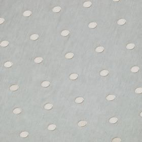 Silk Circles - Glaze - White and pale blue coloured polka dot patterned fabric containing a blend of linen and silk