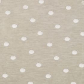 Silk Circles - Natural Linen - Linen and silk blended together into a polka dot patterned fabric in pale grey and white