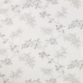 Trailing Tree Linen - Ivory - Leaves shaded in two different light grey tones on a white linen and silk blend fabric background