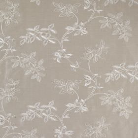 Trailing Tree Linen - Gosling - Leaf patterned linen and silk blend fabric with a silvery white design on a grey background