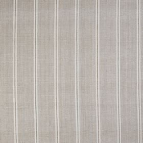 Burn Stripe - Greensand - Striped 100% silk fabric featuring a regular, repeated design in white and cement grey