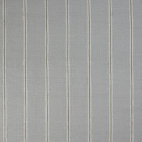 Burn Stripe - French Grey - 100% silk fabric with a simple stripe design with thin vertical bands in two shads of grey on a light blue backg