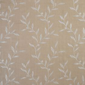 Willow Trail - Antique Stone - Light brown coloured 100% silk fabric patterned with very simple, small pale grey-white leaves