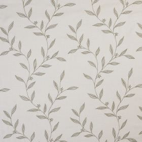 Willow Trail - Greensand - Fabric made from very pale grey coloured 100% silk, printed with a small, simple leaf design in a darker shade of