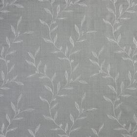 Willow Trail - French Grey - Two similar shades of blue-grey making up a leaf print patterned fabric made entirely from silk