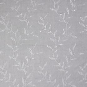 Willow Trail - Ash - 100% silk fabric in light blue, patterned with a pale grey-blue design of leaves which are small and very simple