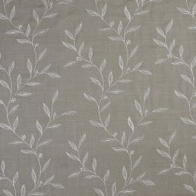 Willow Trail - Linen Grey - Leaf print patterned fabric made from 100% silk with a very simple light grey design on a slightly darker backgr